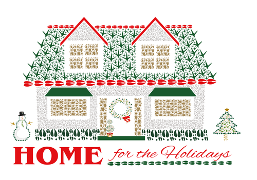 8 Home for the Holidays Card Cello Pack - Animal Track Designs
