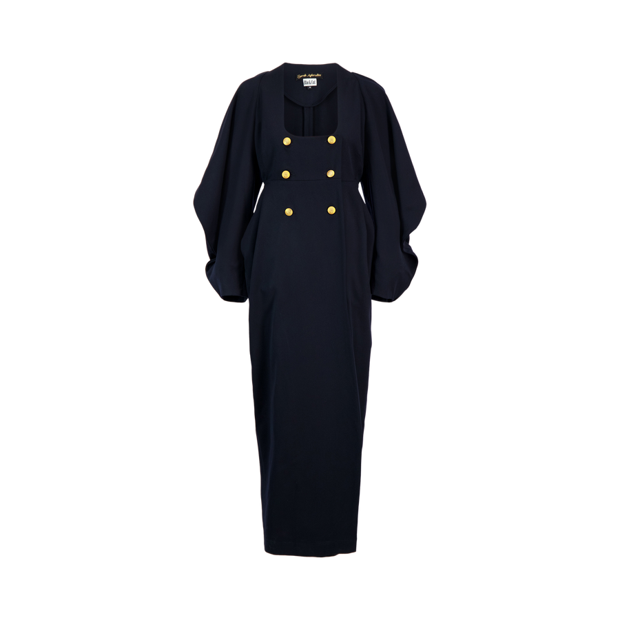 long coat dress w/big sleeves and gold buttons