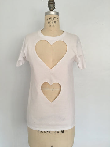Double heart cut out T shirt xs-med