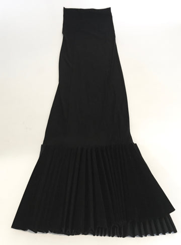 long black tube dress with asymmetrical fan bottom