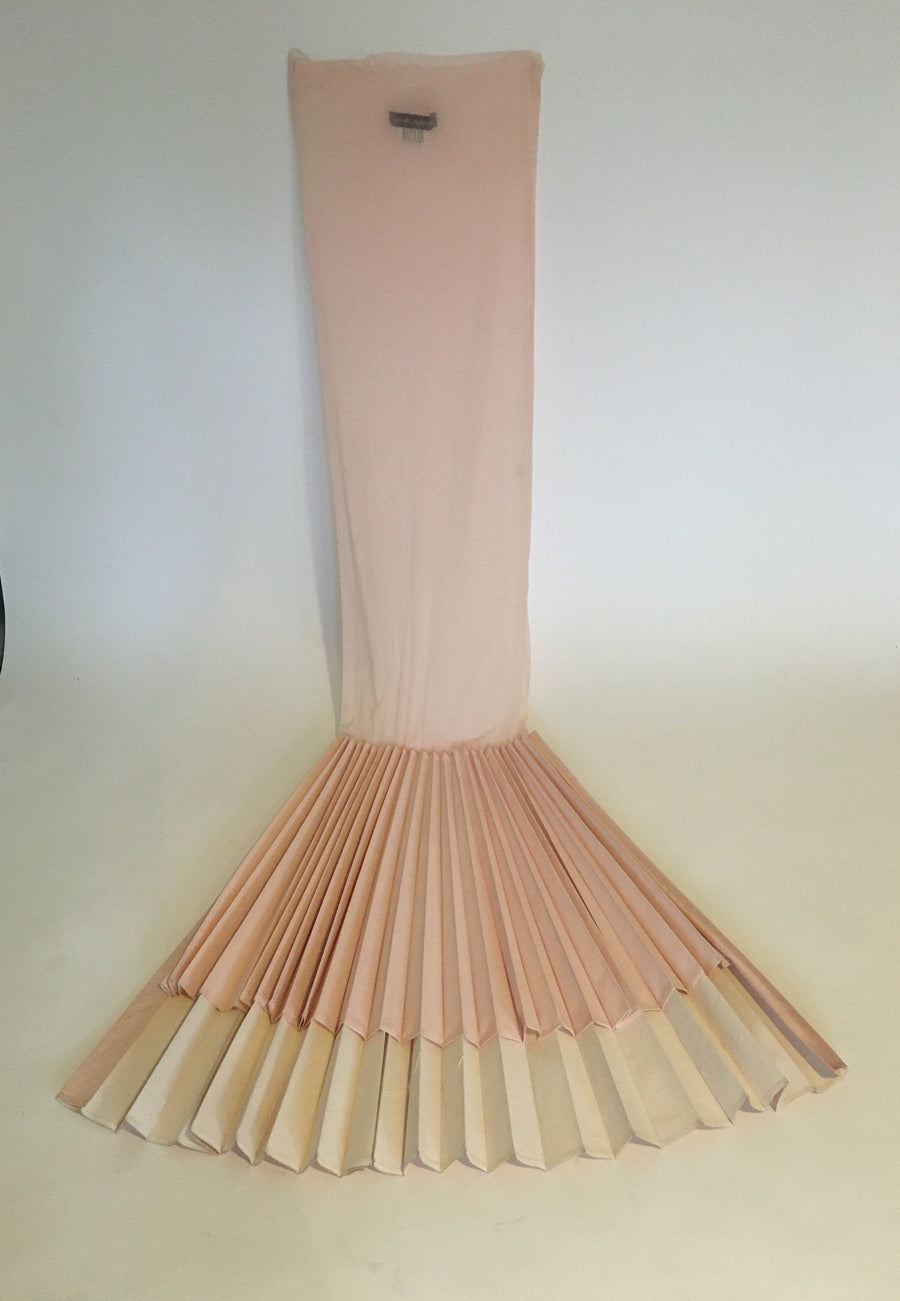 long mash pink tube dress with asymmetrical fan bottom