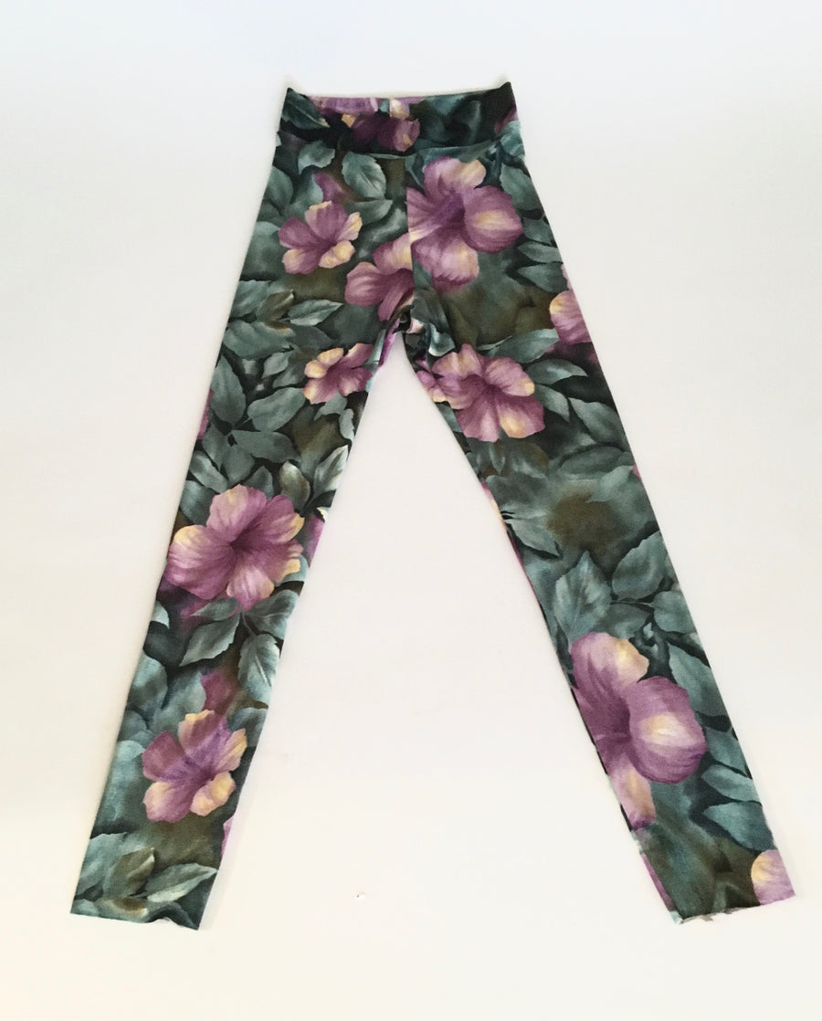 High waist velvet jersey flower print leggings