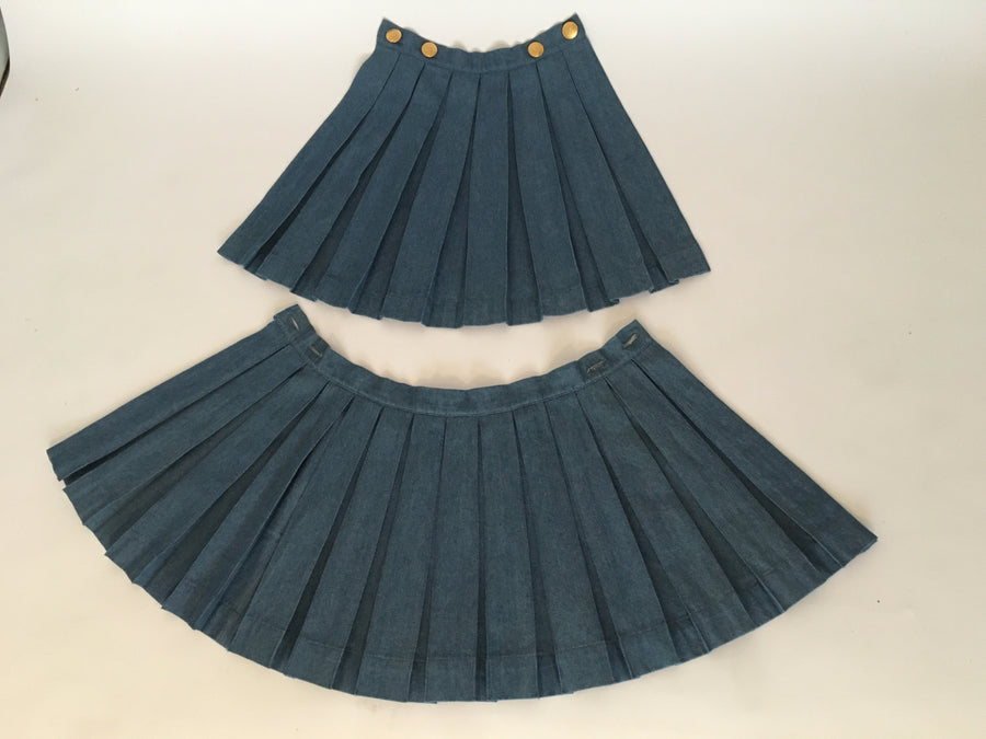 Denim box plead skirt belt