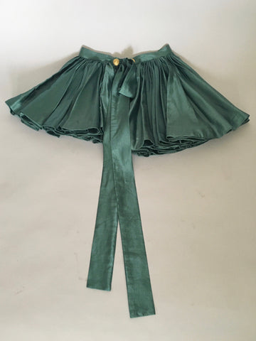 Green sateen heavy pleated skirt belt