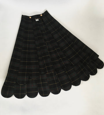 Long plaid scallop skirt belt