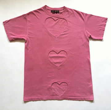 Oversized Triple heart cut-out Tee PINK