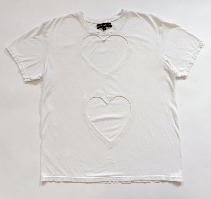 OVERSIZED DOUBLE HEART CUT-OUT TEE WITH 2 BIG HEARTS