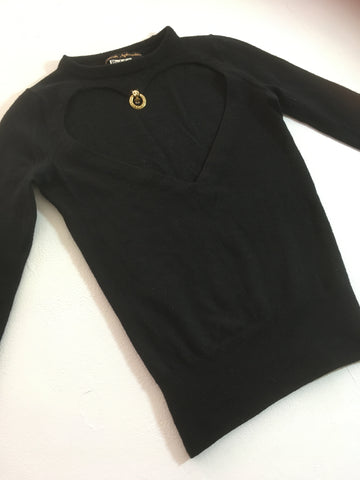 long sleeve sweater with large heart cut out