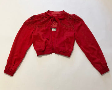RED BOMBER JACKET WITH LACE