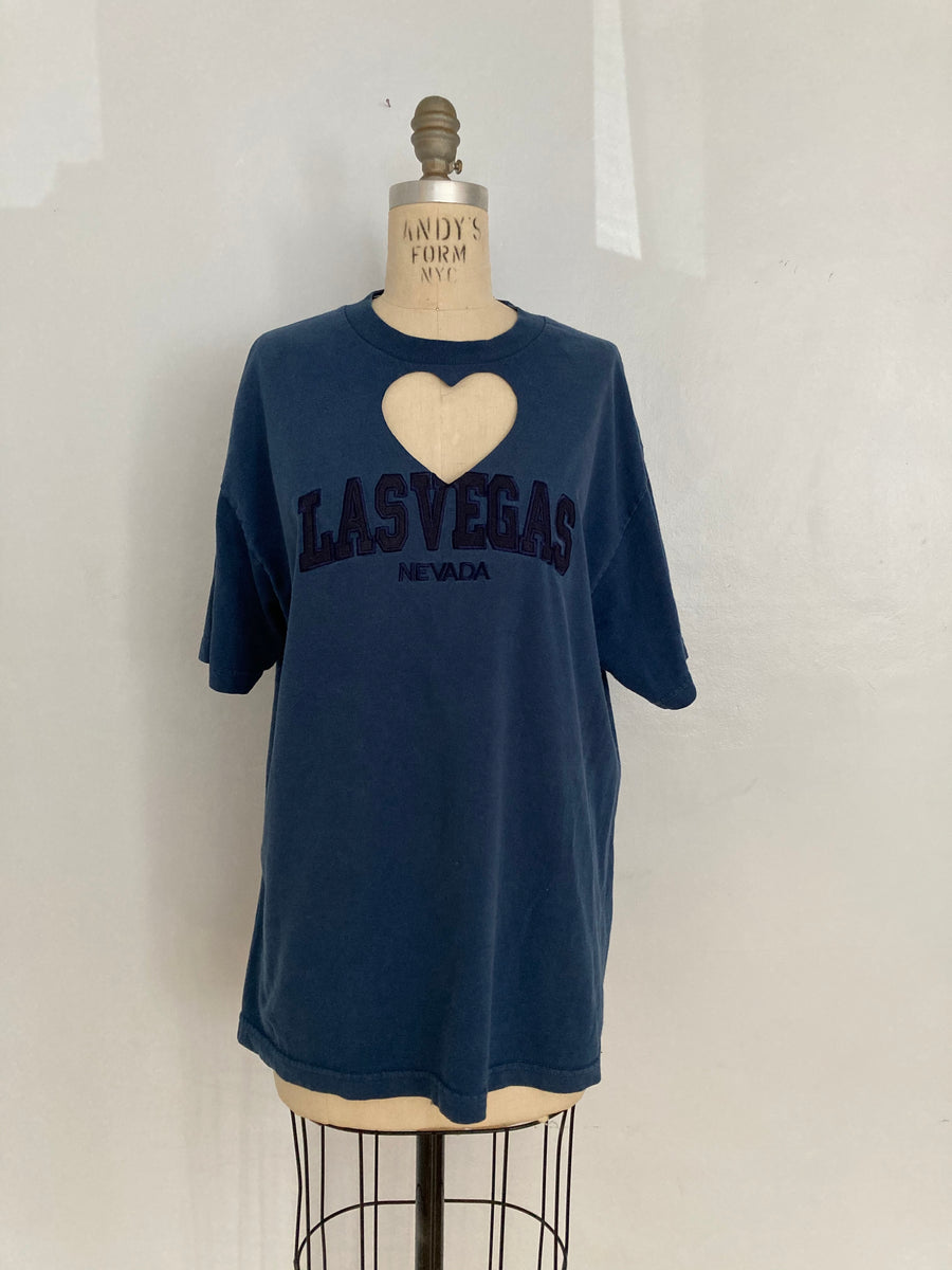 OVERSIZED 'LAS VEGAS' HEART CUT-OUT TEE