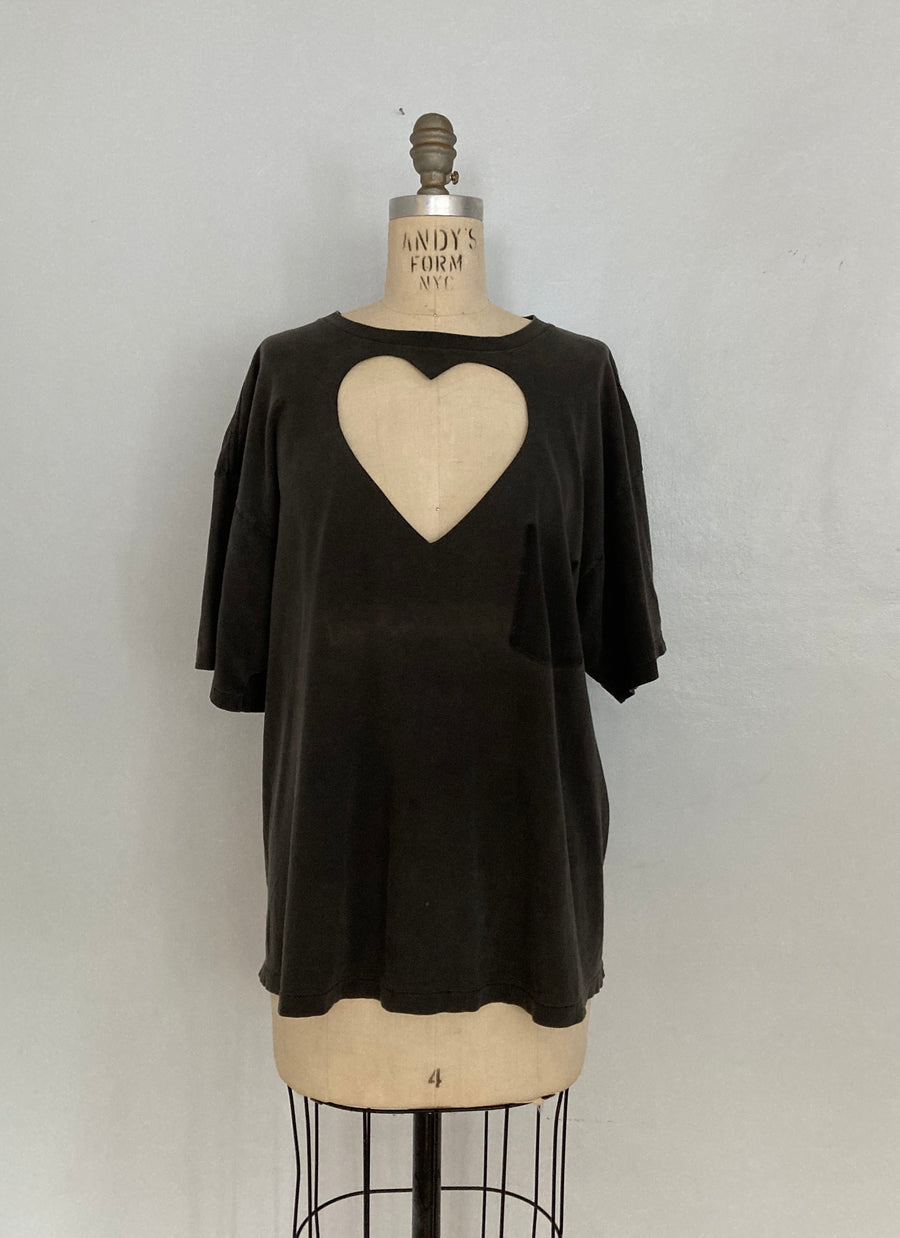WASHED GREY HEART CUT-OUT TEE