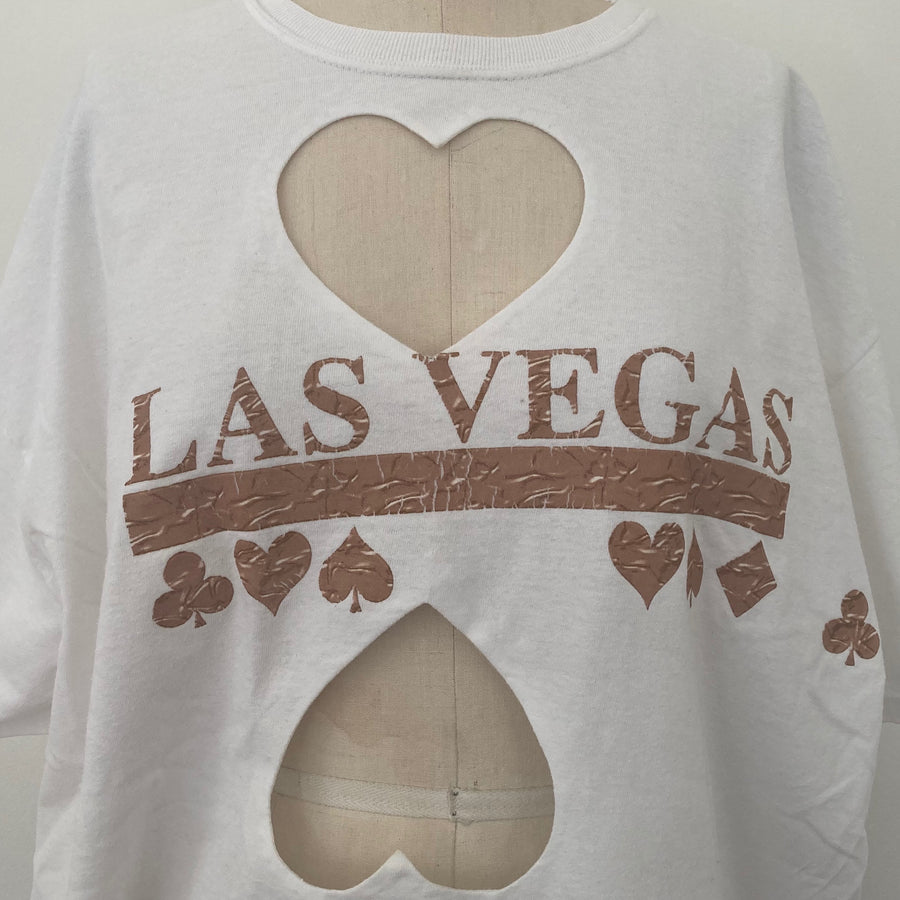 OVERSIZED 'LAS VEGAS' DOUBLE HEART CUT-OUT TEE