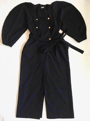 long coat dress w/ big sleeves and gold buttons