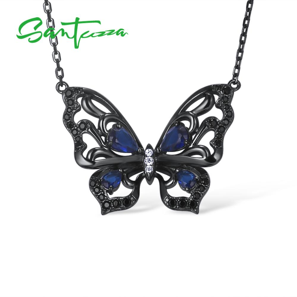 SANTUZZA Silver Necklace For Woman Authentic 925 Sterling Silver Vivid Blue Butterfly Necklace Chain Chic Party Fashion Jewelry