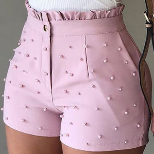 Ladies Beading Frill Hem Casual Shorts High Waist Women Summer Shorts Pantalones Cortos De Mujer Short Femme