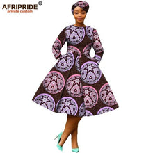 Load image into Gallery viewer, african clothing 2019 autumn women dress AFRIPRIDE full sleeve calf-length ball grown women casual dress with headscraf A7225111