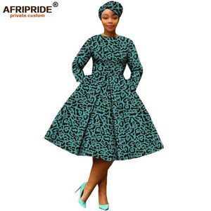 african clothing 2019 autumn women dress AFRIPRIDE full sleeve calf-length ball grown women casual dress with headscraf A7225111