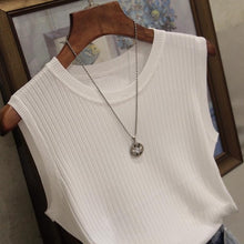 Load image into Gallery viewer, White Top Knitted Tank Tops Women Sleeveless Vest Women Top O-neck Solid Tank Fashion Female Casual Knit Woman Shirt Gilet Femme