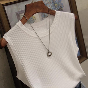 White Top Knitted Tank Tops Women Sleeveless Vest Women Top O-neck Solid Tank Fashion Female Casual Knit Woman Shirt Gilet Femme