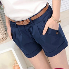 Load image into Gallery viewer, S-5XL Plus Size Women Summer Cotton Casual Shorts Without Belt  Fashion Mid-Waist Solid Slim Short femme