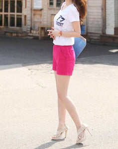 Woman candy color casual shorts women 2020 summer ladies shorts short femme white pink yellow blue+ tracking number