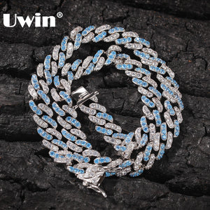 UWIN 8mm Iced Out Women Choker Necklace Silver Cuban Link With White & Baby Bule Cubic Zirconia Chain Hiphop Jewelry