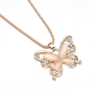 2019 New Fashion Rose Golden Butterfly Chokers Necklaces Cat Eye Stone Long Necklace Women Jewelry Wholesale