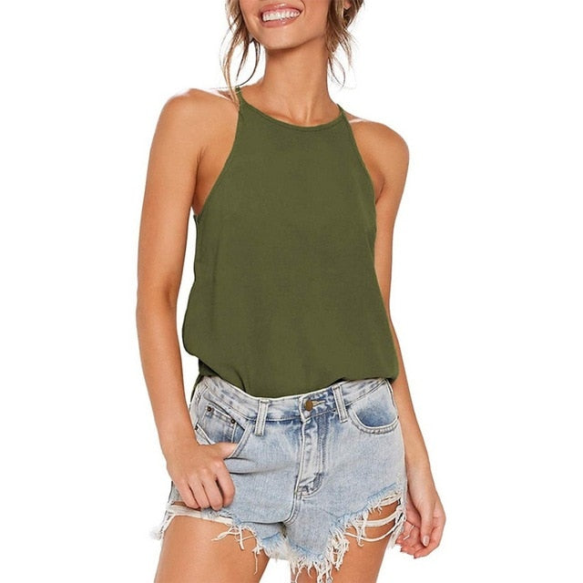 Womens Tops Sleeveless Halter Summer Casual Fashion Shirts Basic Tee Shirts Camis Tank Tops Beach Blouses
