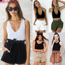 Load image into Gallery viewer, Women Summer Beach High Waist Shorts Stylish Ruffles Drawstring Loose Tie Belt Casual Solid Holiday Cotton Elastic Hot Shorts