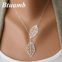Load image into Gallery viewer, Btuamb Hot Selling Double Hollow Leaves Necklaces for Women Jewelry Gold Silver Color Clavicle Chain Necklaces Pendants Collier