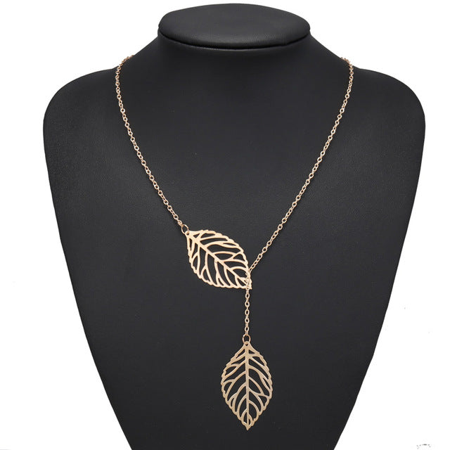 Btuamb Hot Selling Double Hollow Leaves Necklaces for Women Jewelry Gold Silver Color Clavicle Chain Necklaces Pendants Collier