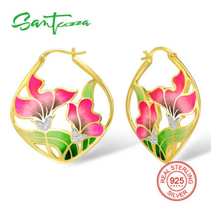 SANTUZZA Silver Earrings For Women 925 Sterling Silver Flower Dangle Earrings Gold Color Fashion Jewelry Handmade Enamel