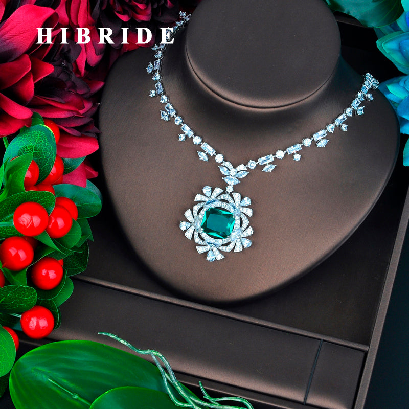 HIBRIDE Luxury Brilliant Square Green Stone Pendant Fot Women Sweater Jewelry White Gold Color Necklace N-710
