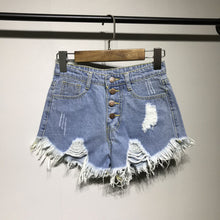 Load image into Gallery viewer, denim shorts women shorts jeans female pockets jean shorts with fringes black ladies sexy women summer denim ripped shorts hot