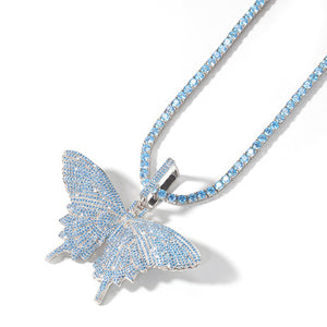 Blue AAA+ Cubic Zirconia Pave Bling Ice Out Butterfly Pendants Necklaces Tennis Cuban Chain for Men Women Hip Hop Rapper Jewelry