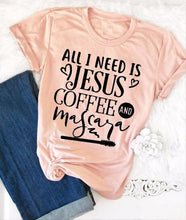 Load image into Gallery viewer, All I Need Is Jesus and Coffee and Mascara T-Shirt Jesus Christian Tee Religion Bible Verse Slogan Grunge Shirt Scripture Tops