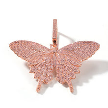 Load image into Gallery viewer, UWIN Hiphop Rose Gold Butterfly Pendant Necklaces Pink Cuban Link Chain For Women Iced Out AAA Cubic Zircon Fashion Jewelry