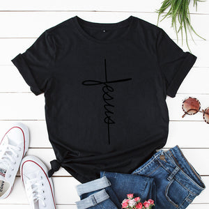 JFUNCY Hope Love Cross T-shirts Scripture Christian Women T Shirt Summer Casual Cotton Tshirt Plus Size Unisex Graphic Tees Tops
