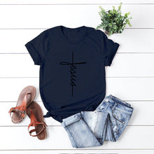 Load image into Gallery viewer, JFUNCY Hope Love Cross T-shirts Scripture Christian Women T Shirt Summer Casual Cotton Tshirt Plus Size Unisex Graphic Tees Tops