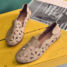 Load image into Gallery viewer, Summer Women Flat Shoes Soft Casual Loafers Female Ballet Flats Sweet Cut Out Suede Slip On Moccasins Breathable Ladies Footwear