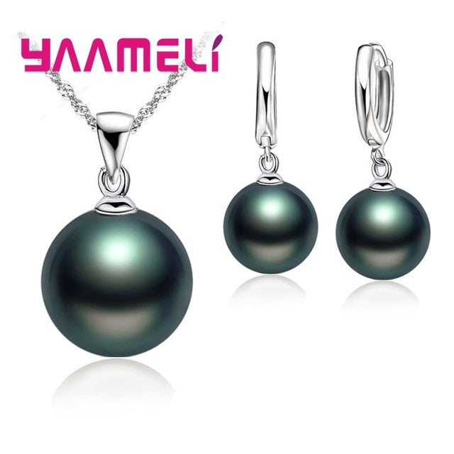 Smooth Women Wedding Jewelry Sets 925 Sterling Silver Pearl Necklace Hoop Earrings Fashion Jewellery Set Accessories