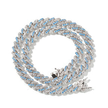Load image into Gallery viewer, UWIN 8mm Iced Out Women Choker Necklace Silver Cuban Link With White & Baby Bule Cubic Zirconia Chain Hiphop Jewelry