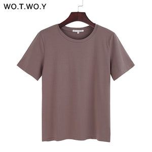 WOTWOY 2020 Summer Cotton T Shirt Women Loose Style Solid Tee Shirt Female Short Sleeve Top Tees O-Neck T-shirt Women 12 Colors