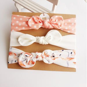 3pcs/set Baby Headband Girls Hair Accessories Cotton Rabbit Ear Turban Bow Elastic Hairband Baby Princess Christmas Day Gifts