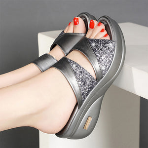 Summer Women Slippers Ladies Bling Casual Wedges Shoes Woman Slides Female Beach Sandals Comfortable Platform Ladies Footwear