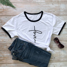 Load image into Gallery viewer, Love Cross T-Shirt Fashion Clothing 100% Cotton Stylish Scripture Christian Tee Bible Verse Valentine's Day Tops girl shirts
