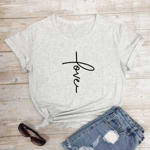 Love Cross T-Shirt Fashion Clothing 100% Cotton Stylish Scripture Christian Tee Bible Verse Valentine's Day Tops girl shirts