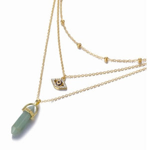 Hot sale Hexagonal Column Quartz Necklaces Pendants Fashion Natural Stone Bullet Pink Crystal Pendant Necklace For Women Jewelry