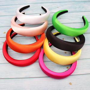 Xugar Hair Accessories Satin Headband for Women Solid Color Plastic Hair Hoop Girls Sponge Non-slip Padded Hairbands Hair Band