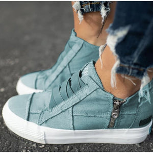 Women's Sneakers Flat Platform Women Elastic Band Canvas Shoes Comfortable Casual Female Vulcanized Shoes Zipper Ladies Footwear
